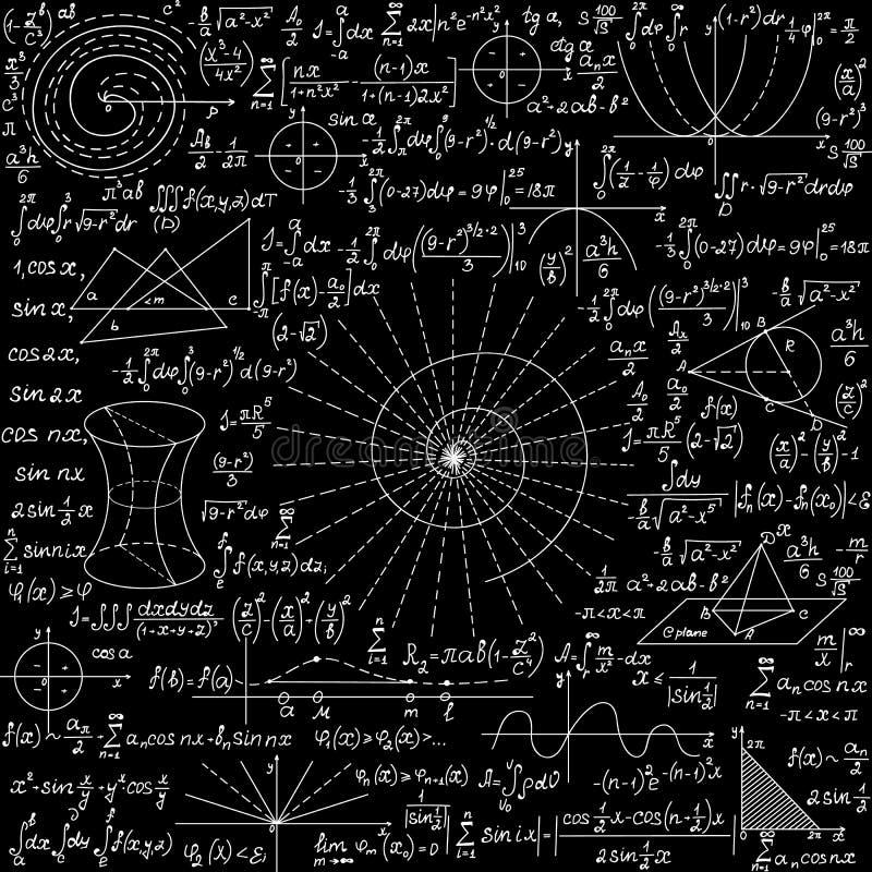 Wiskunde onderwijs vector naadloze achtergrond met met de hand geschreven formules, cijfers, berekeningen, 'krijt op bord 'effect stock illustratie