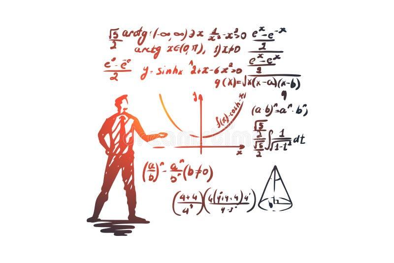 Wiskunde, onderwijs, wetenschap, school, studieconcept Hand getrokken geïsoleerde vector royalty-vrije illustratie