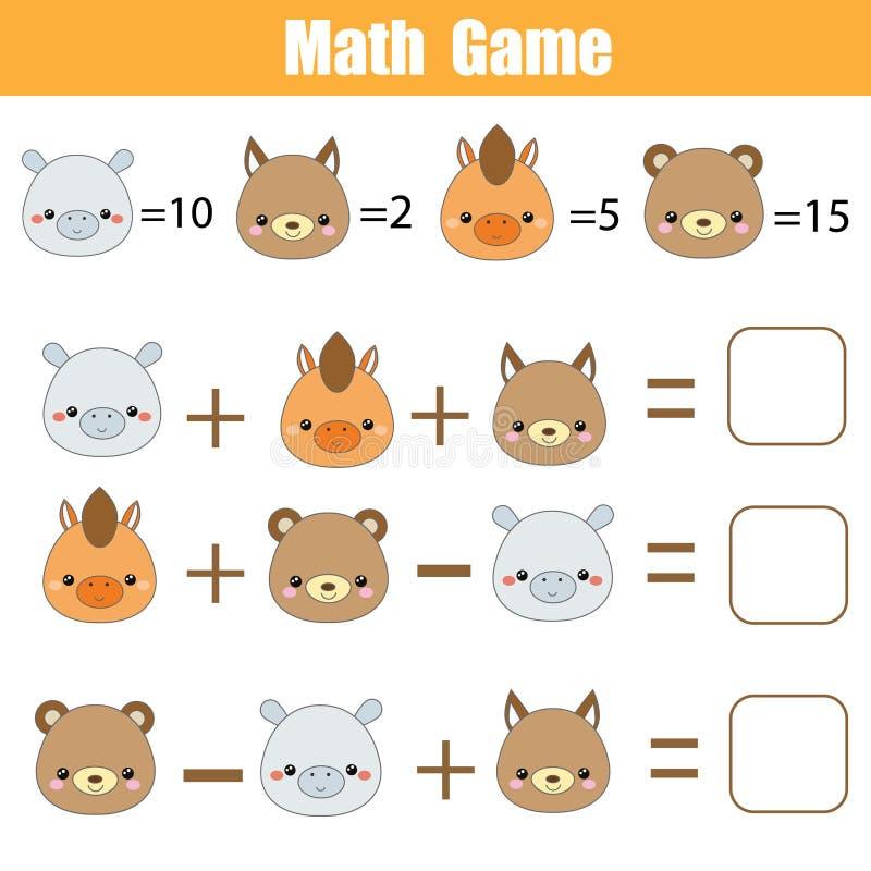 Wiskunde onderwijsspel Tellende vergelijkingen Wiskundeaantekenvel voor kinderen met dierengezichten royalty-vrije illustratie