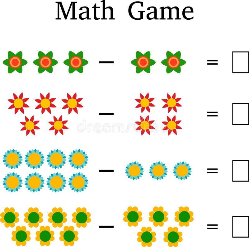 Wiskunde onderwijsspel voor jonge geitjes stock illustratie