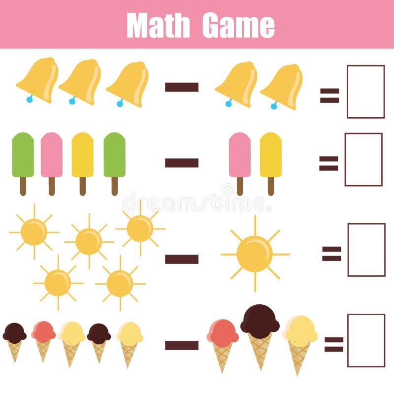 Wiskunde onderwijsspel voor kinderen royalty-vrije illustratie