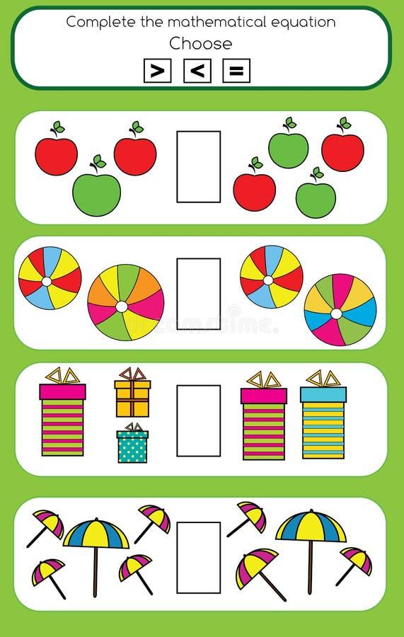 Wiskunde onderwijsspel voor kinderen vector illustratie