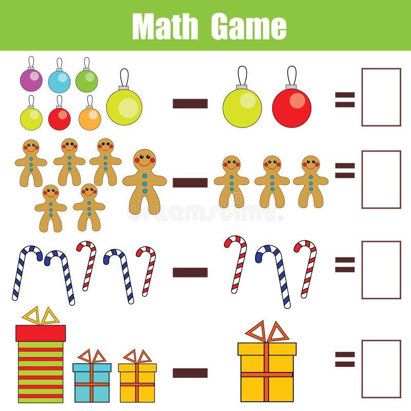 Wiskunde onderwijsspel voor kinderen, aftrekkingsaantekenvel, Kerstmisthema royalty-vrije illustratie