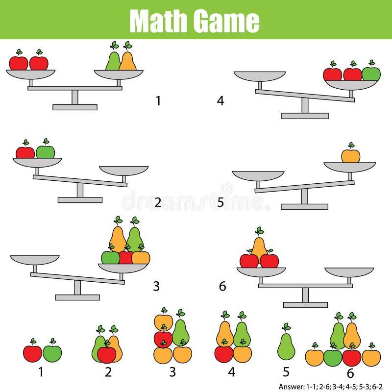 Wiskunde onderwijsspel voor kinderen breng de schaal in evenwicht vector illustratie