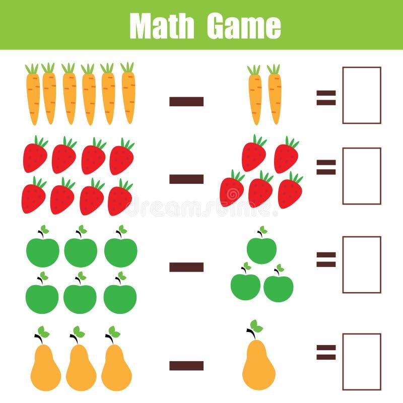 Wiskunde onderwijsspel voor kinderen, het aantekenvel van de aftrekkingswiskunde stock illustratie