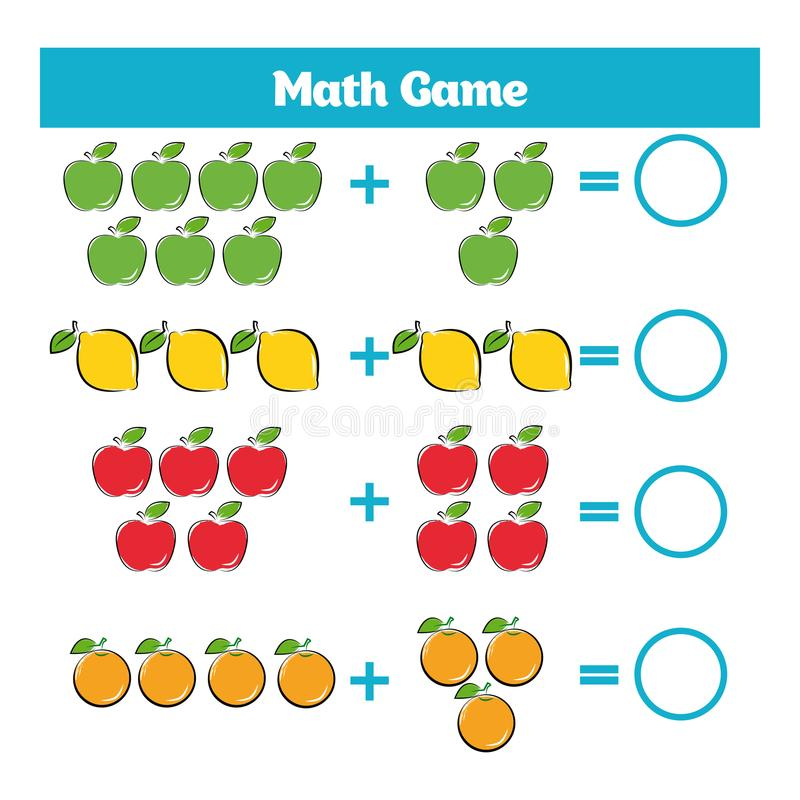 Wiskunde onderwijsspel voor kinderen Het leren aftrekkingsaantekenvel voor jonge geitjes, tellende activiteit royalty-vrije illustratie