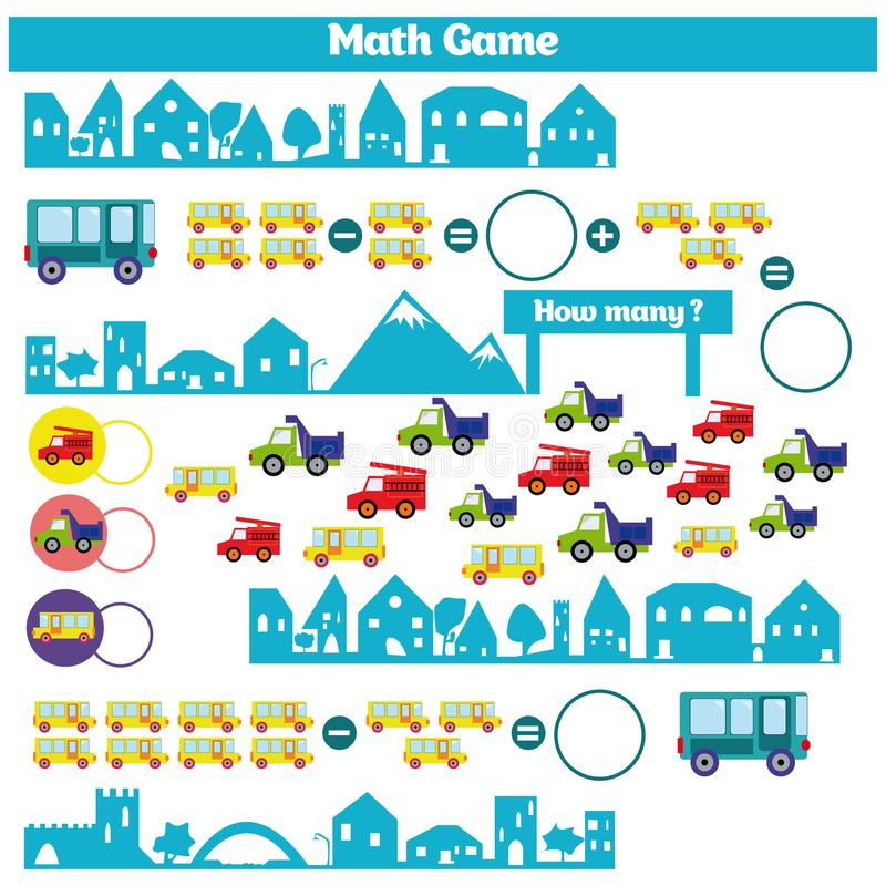 Wiskunde onderwijsspel voor kinderen Het leren aftrekkingsaantekenvel voor jonge geitjes, tellende activiteit vector illustratie