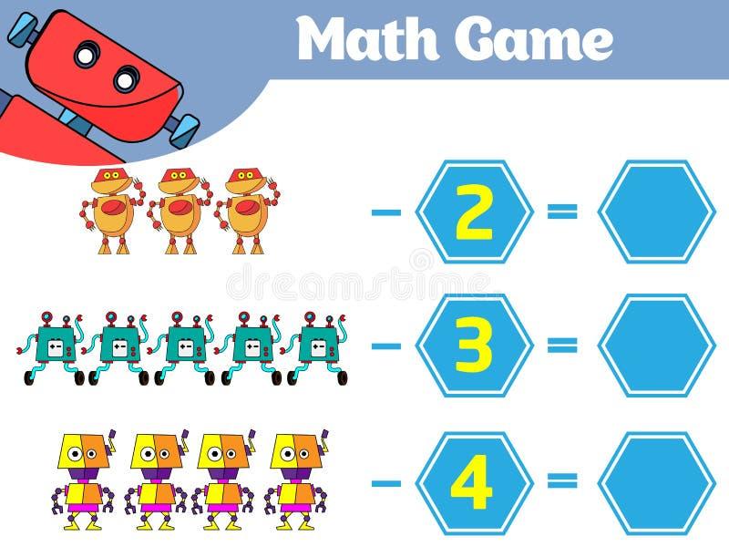 Wiskunde onderwijsspel voor kinderen Het leren aftrekkingsaantekenvel voor jonge geitjes, tellende activiteit Vectorillustratiero royalty-vrije illustratie