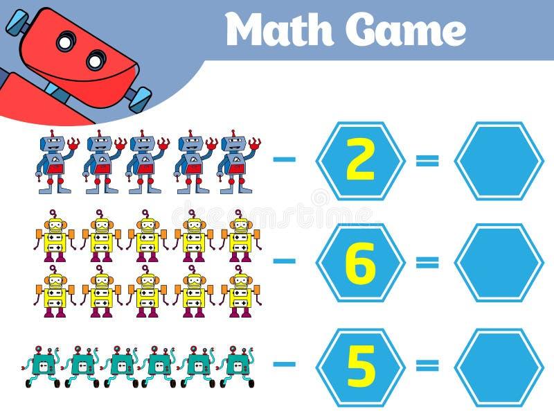 Wiskunde onderwijsspel voor kinderen Het leren aftrekkingsaantekenvel voor jonge geitjes, tellende activiteit Vectorillustratiero vector illustratie