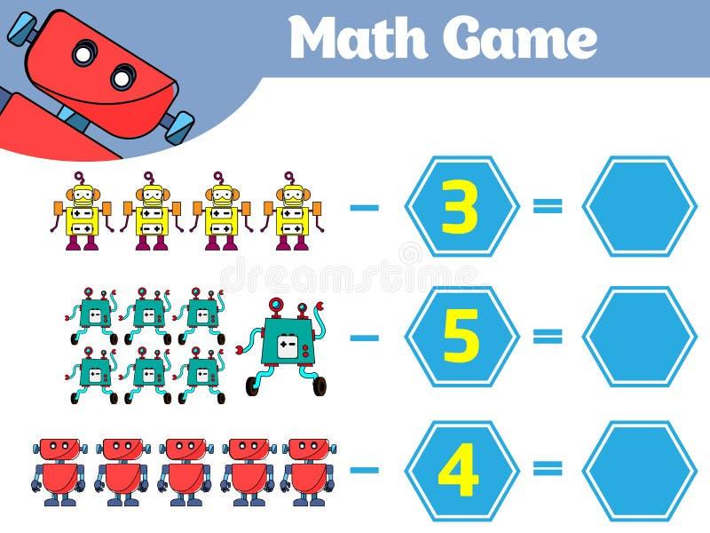 Wiskunde onderwijsspel voor kinderen Het leren aftrekkingsaantekenvel voor jonge geitjes, tellende activiteit Vectorillustratiero stock illustratie