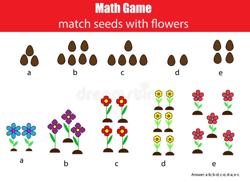 Wiskunde onderwijsspel voor kinderen Passende mathematisactiviteit tellend spel voor jonge geitjes royalty-vrije illustratie