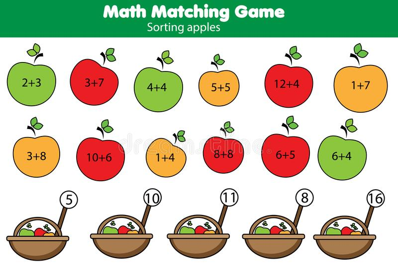 Wiskunde onderwijsspel voor kinderen Passende wiskundeactiviteit tellend spel voor jonge geitjes stock illustratie
