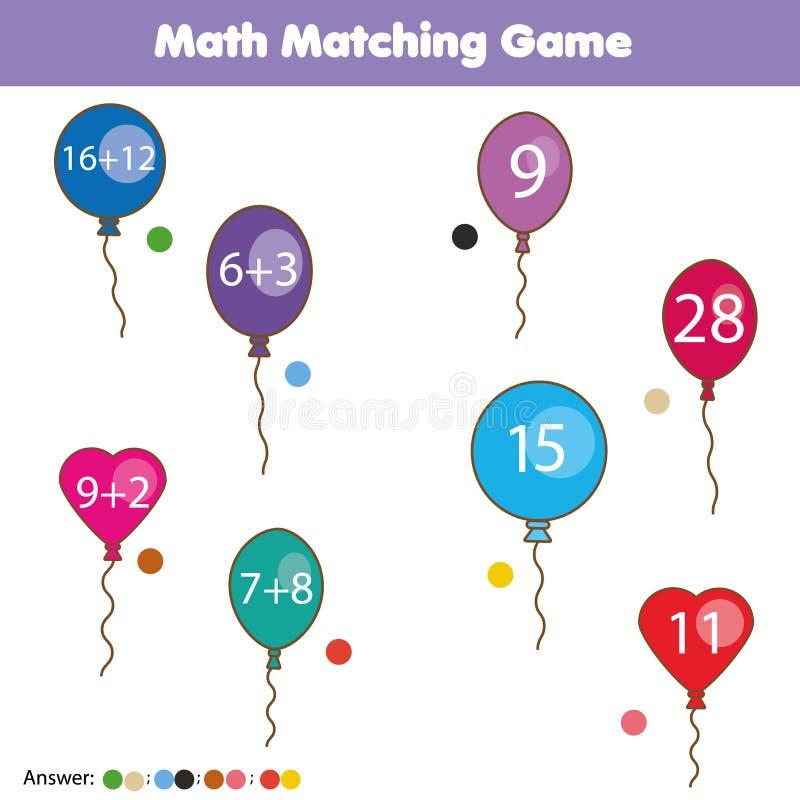 Wiskunde onderwijsspel voor kinderen Passende wiskundeactiviteit tellend spel voor jonge geitjes royalty-vrije illustratie