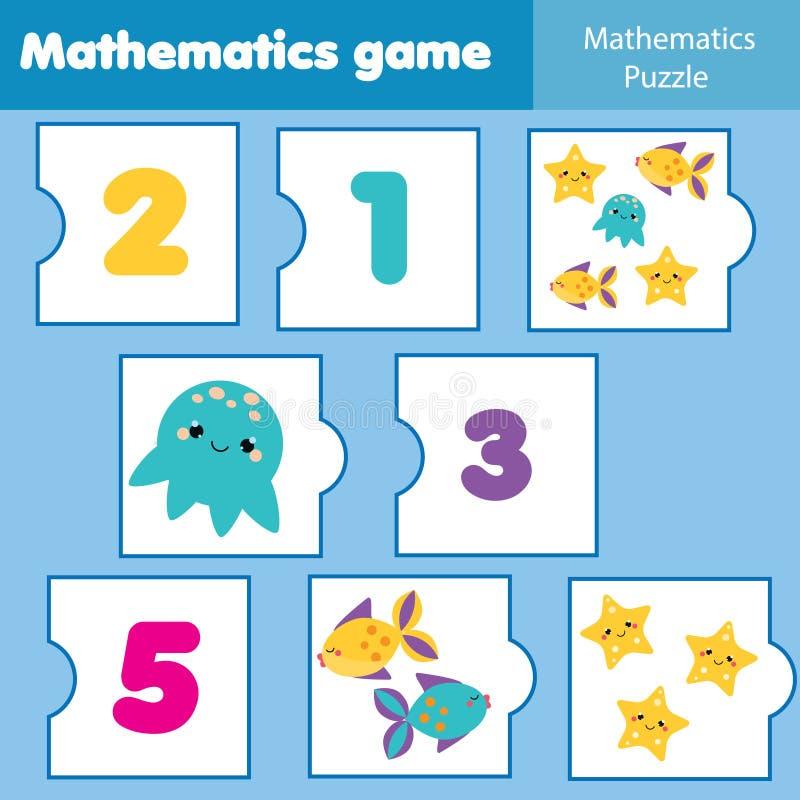 Wiskunde onderwijsspel voor kinderen Passende wiskunderaadsels Tellend spel voor jonge geitjes en peuters royalty-vrije illustratie