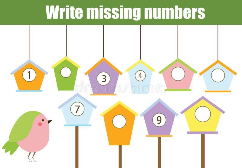 Wiskunde onderwijsspel voor kinderen Schrijf de ontbrekende aantallen stock illustratie
