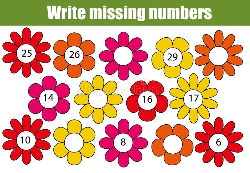 Wiskunde onderwijsspel voor kinderen Schrijf de ontbrekende aantallen vector illustratie