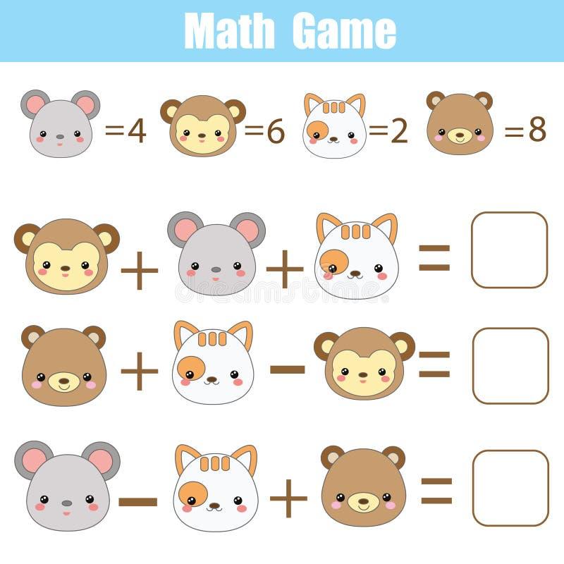 Wiskunde onderwijsspel voor kinderen Tellende vergelijkingen E royalty-vrije illustratie