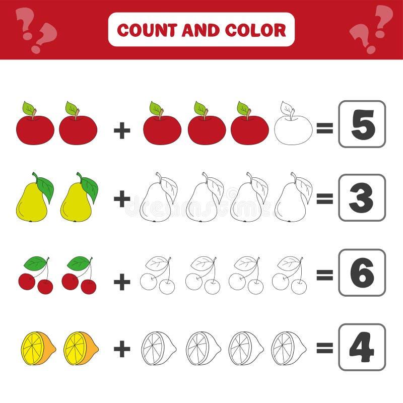 Wiskunde onderwijsspel voor kinderen Tellende vergelijkingen Toevoegingsaantekenvel stock illustratie