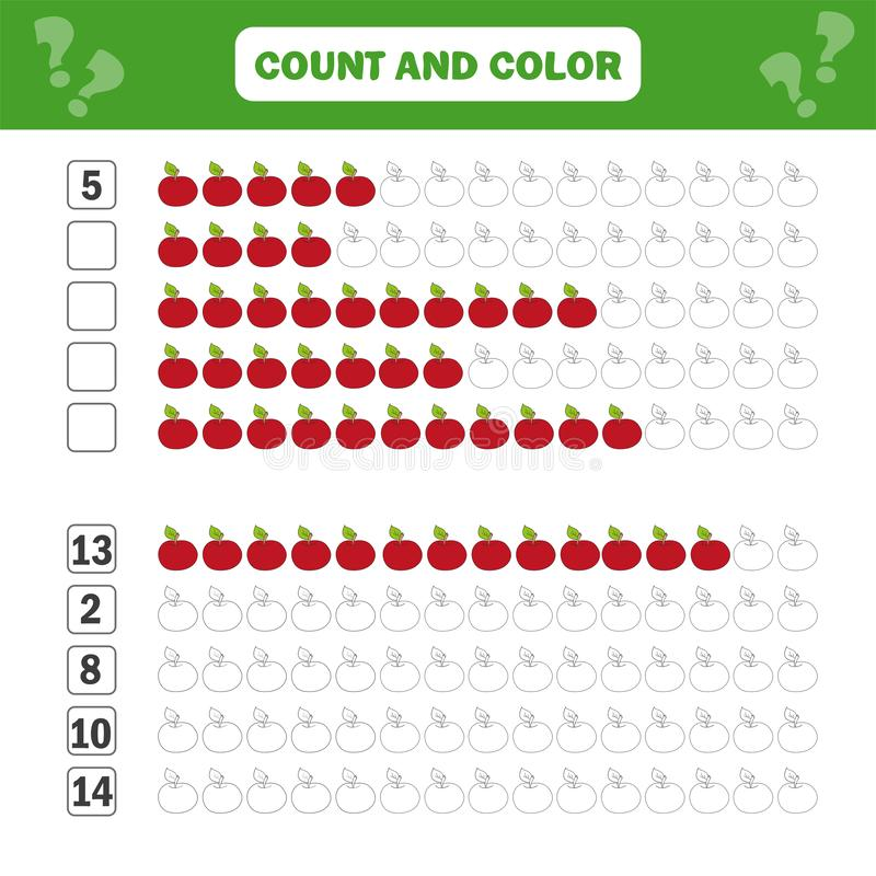 Wiskunde onderwijsspel voor kinderen Tellende vergelijkingen Toevoegingsaantekenvel royalty-vrije illustratie