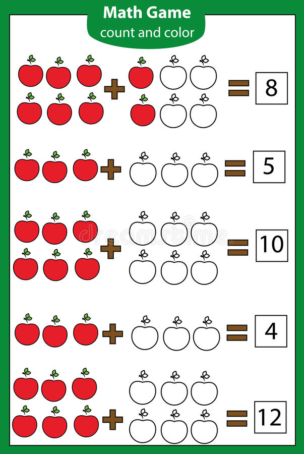 Wiskunde onderwijsspel voor kinderen Tellende vergelijkingen Toevoegingsaantekenvel vector illustratie