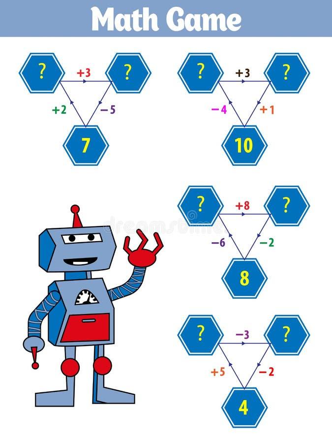 Wiskunde onderwijsspel voor kinderen Vectorillustratie royalty-vrije illustratie