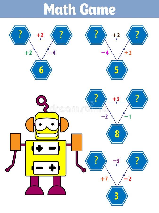Wiskunde onderwijsspel voor kinderen Vectorillustratie vector illustratie