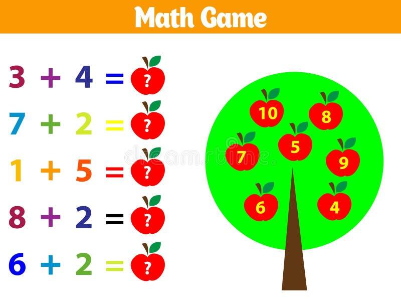 Wiskunde onderwijsspel voor kinderen Vectorillustratie stock illustratie