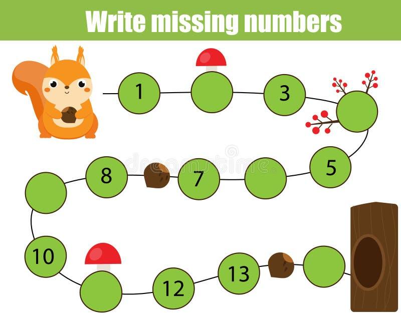 Wiskunde onderwijsspel voor kinderen Voltooi de rij, schrijf ontbrekende aantallen de hulpeekhoorn vindt boom vector illustratie
