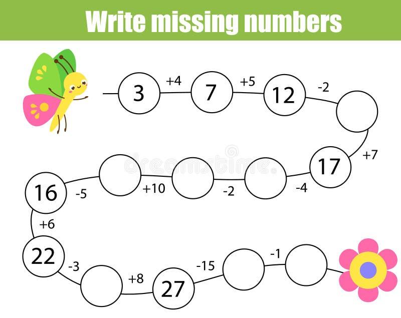 Wiskunde onderwijsspel voor kinderen Voltooi de rij, schrijf ontbrekende aantallen Los de vergelijking op en de hulpvlinder vindt stock illustratie