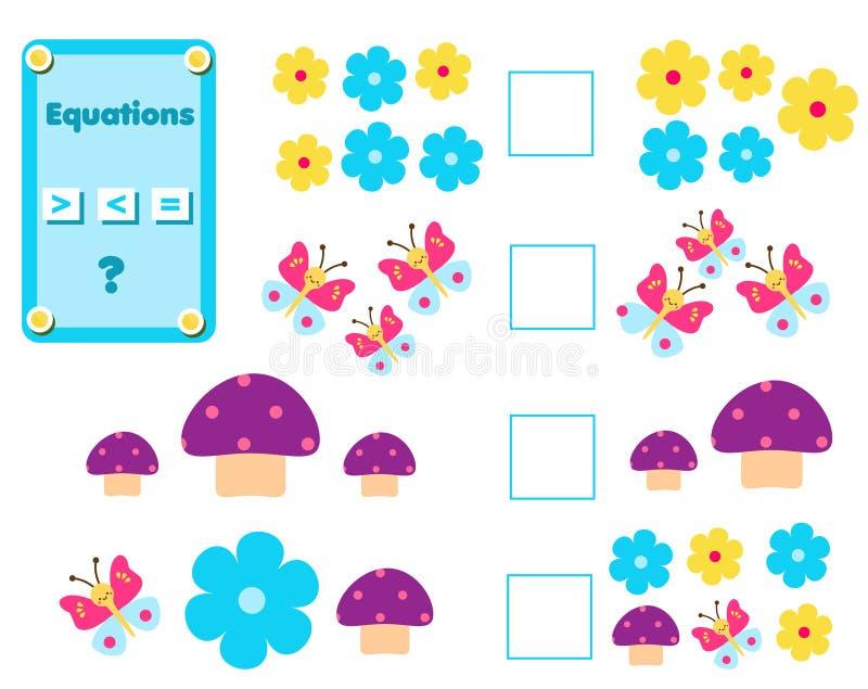Wiskunde onderwijsspel voor kinderen Voltooi de wiskundige vergelijkingstaak, kies meer, minder of gelijke stock illustratie
