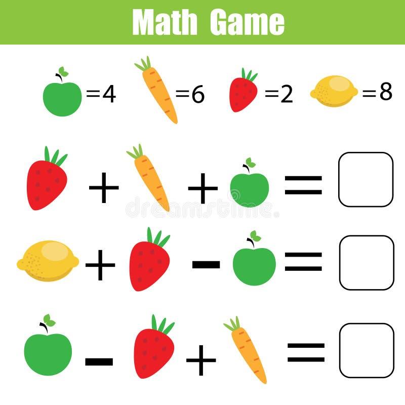 Wiskunde onderwijsspel voor kinderen Wiskundige tellende vergelijkingen royalty-vrije illustratie