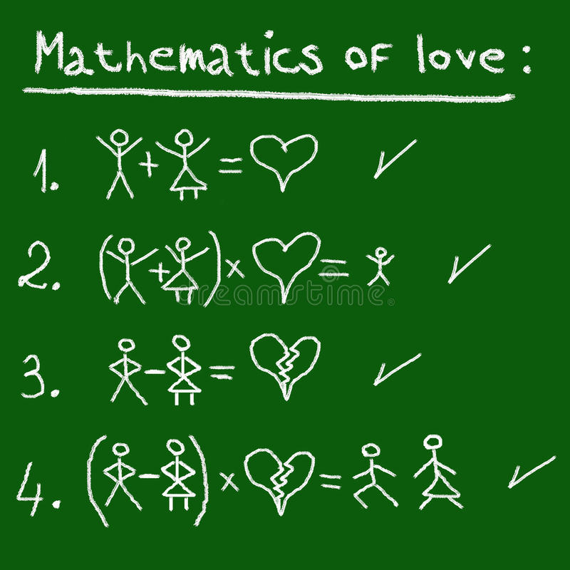 Wiskunde van liefde royalty-vrije illustratie