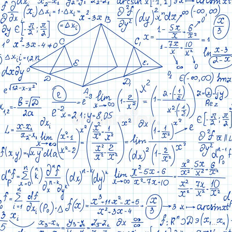 Wiskunde vector naadloos patroon met algebraformules, berekeningen en percelen vector illustratie