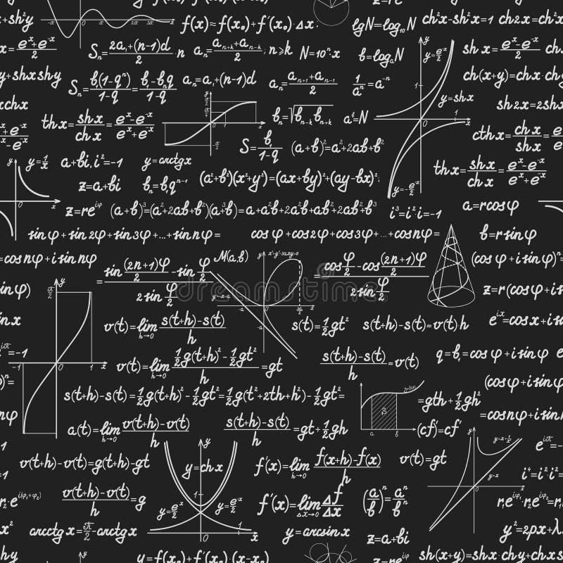 Wiskunde vector naadloos patroon met berekeningen stock illustratie