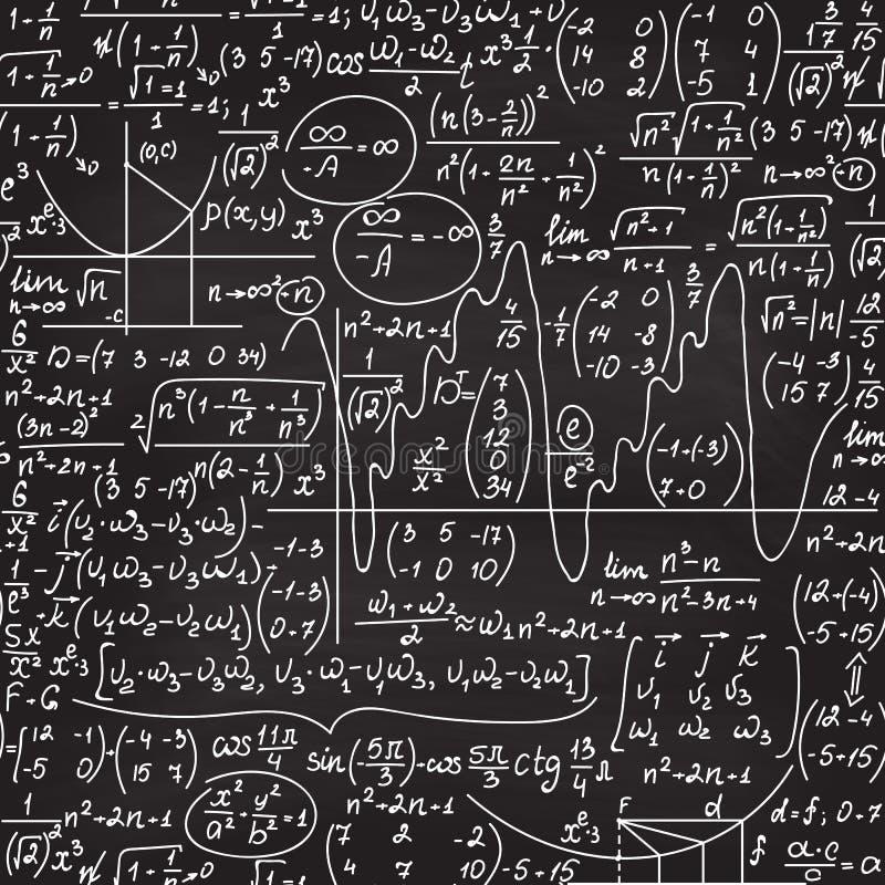Wiskunde vector naadloos patroon met met de hand geschreven algebra en meetkundecijfers, percelen en berekeningen vector illustratie