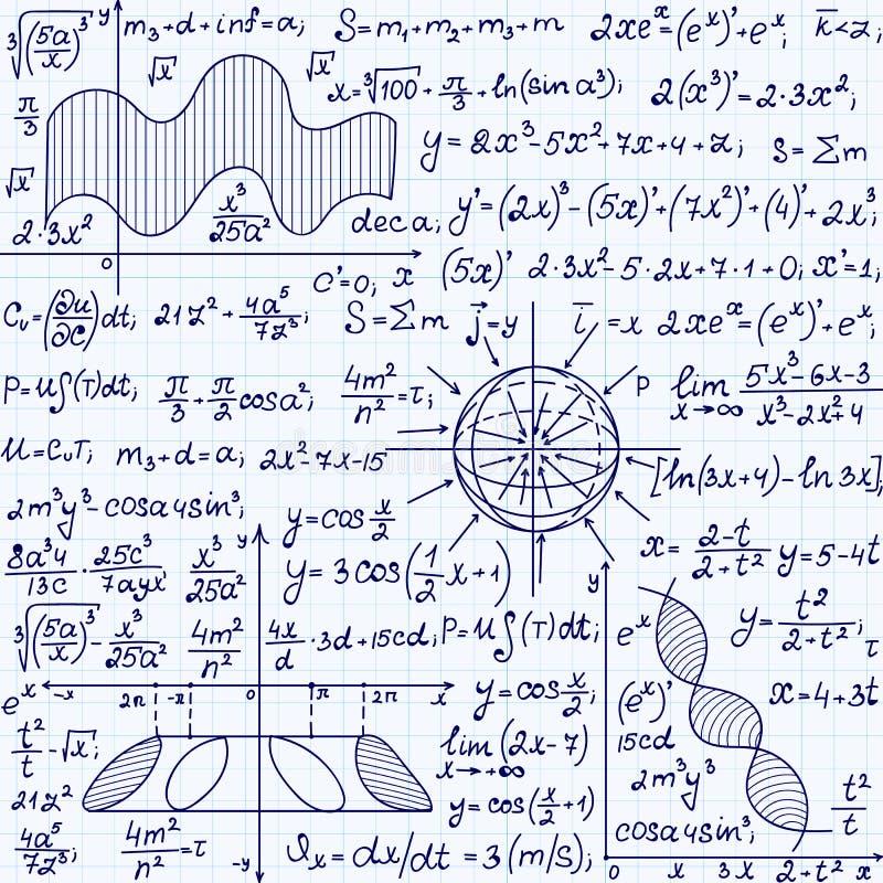 Wiskunde vector naadloos patroon met wetenschapstekeningen, takenoplossingen, percelen, cijfers, formules, met de hand geschreven royalty-vrije illustratie