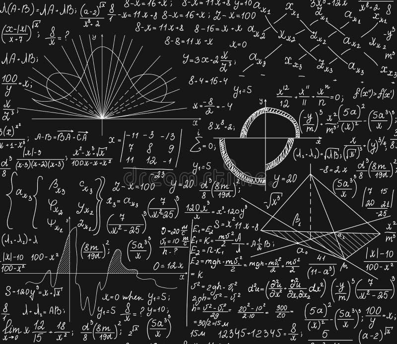 Wiskunde vector naadloos patroon met wiskundige formules, technisch onderzoek, percelen, vergelijkingen, berekeningen royalty-vrije illustratie