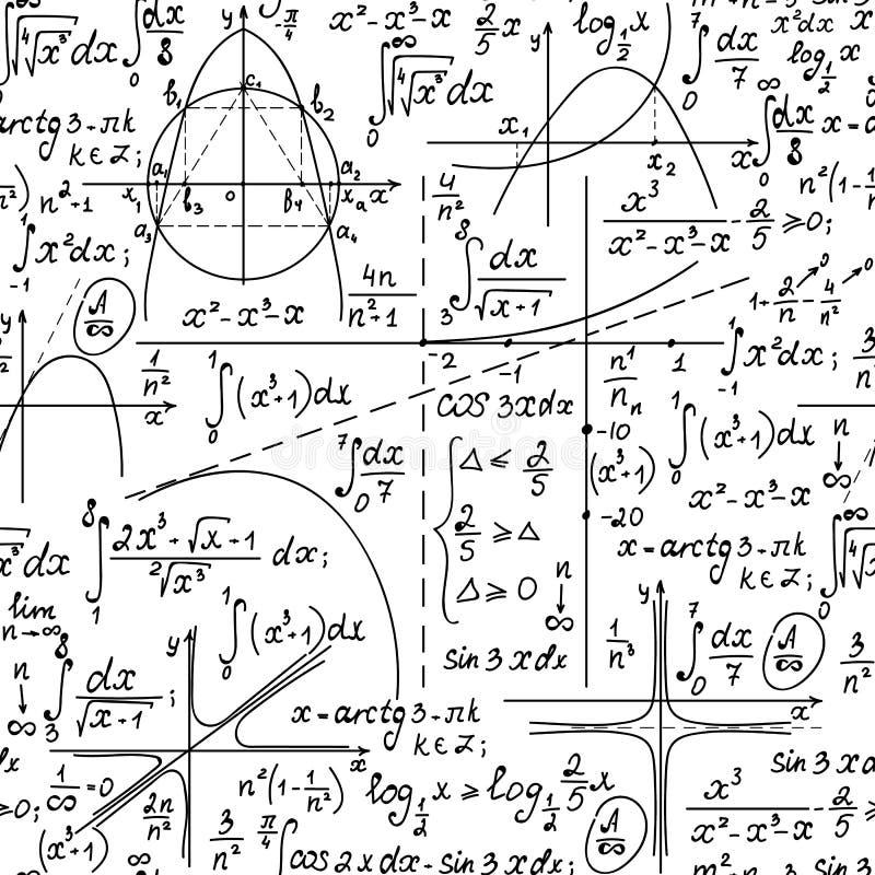 Wiskunde vector naadloze achtergrond met met de hand geschreven algebra en meetkundeformules op een Witboek vector illustratie