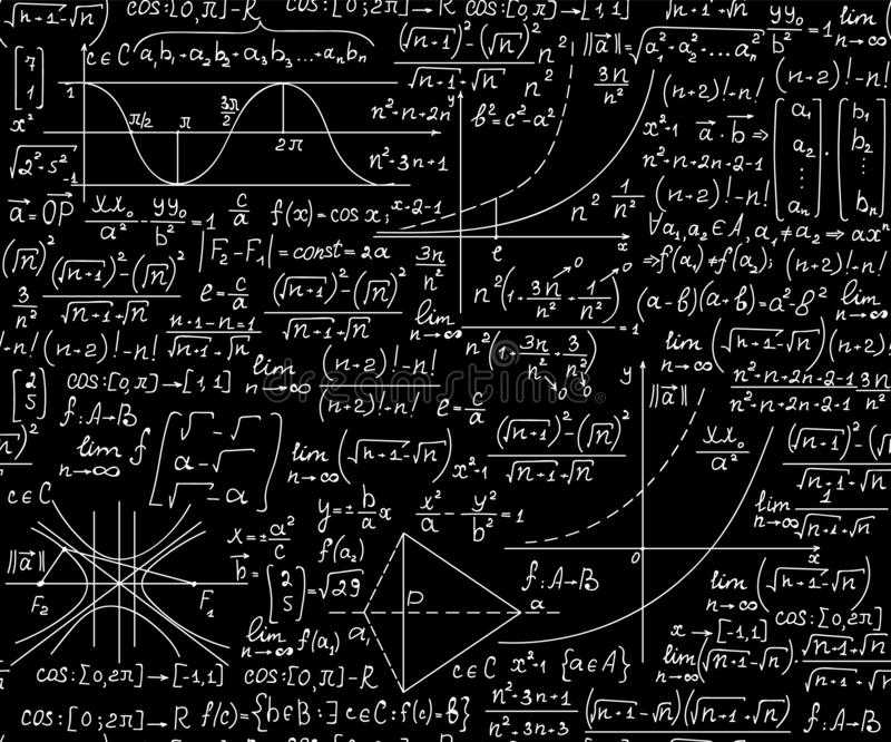 Wiskunde vector naadloze achtergrond met vergelijkingen, formules en geometrische cijfers, 'met de hand geschreven met krijt op b royalty-vrije illustratie