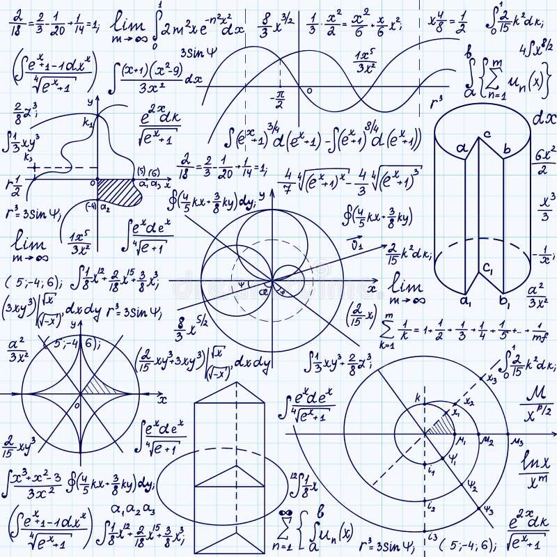 Wiskunde vector naadloze textuur met formules, percelen, algebraïsche en geometrische cijfers en functies stock illustratie