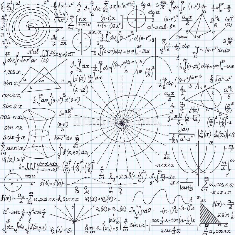 Wiskunde vector naadloze textuur met percelen, berekeningen, geometrische cijfers en verschillende formules vector illustratie