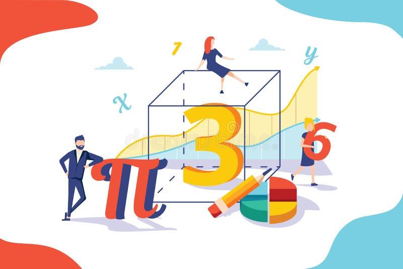 Wiskunde vectorillustratie Het vlakke miniconcept van het personenonderwijs Algebrasymbolen met meetkundecijfers stock illustratie
