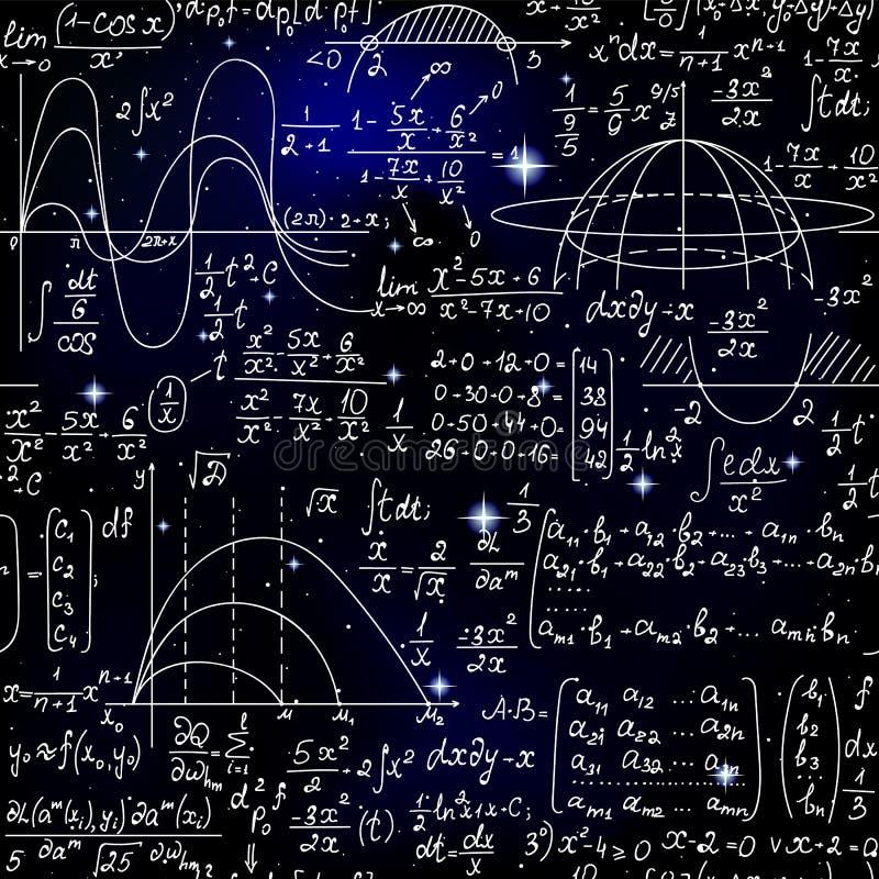 Wiskunde wetenschappelijk vector naadloos patroon met wiskundige formules, percelen en berekeningen op de sterrige ruimteachtergr royalty-vrije illustratie