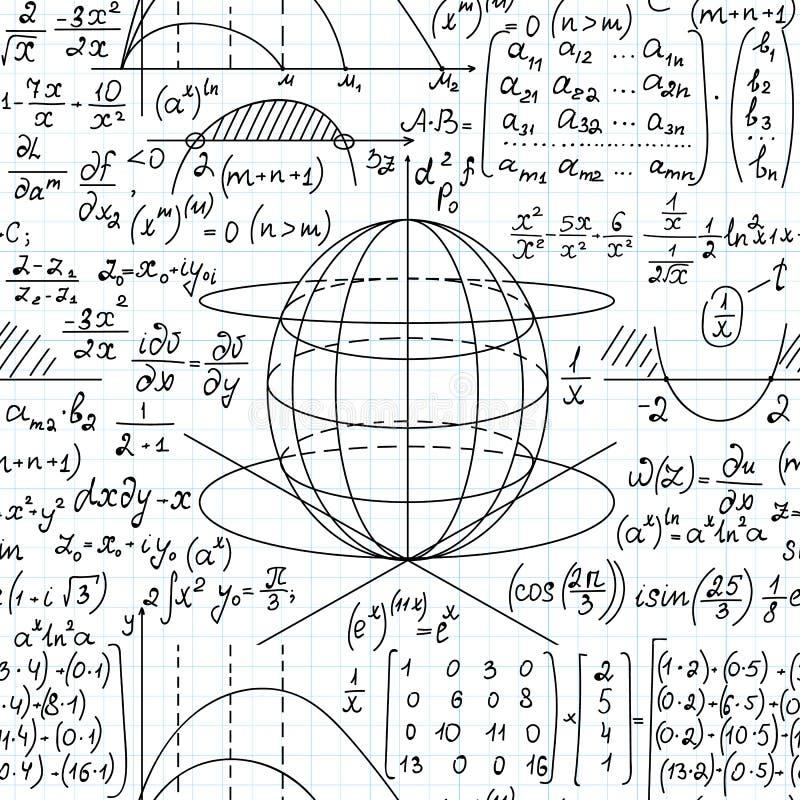 Wiskunde wetenschappelijke vector naadloze achtergrond met wiskundige formules, percelen en vergelijkingen stock illustratie
