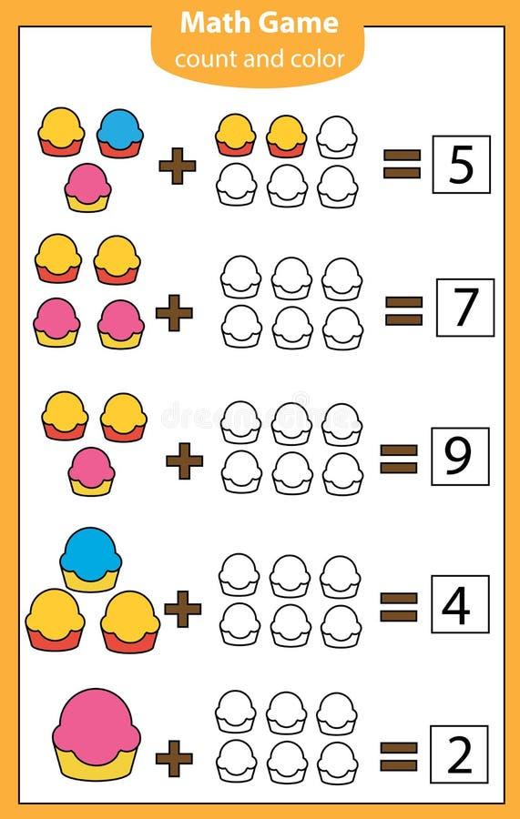 Wiskunde workshhet eduationalspel voor kinderen Het tellen, het Leren toevoeging royalty-vrije illustratie
