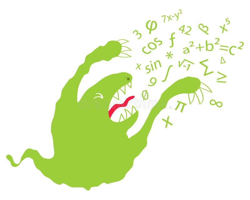 Wiskundefobie, wiskundebezorgdheid die, grappig groen Beeldverhaalmonster getallen en Griekse letters spuiten stock illustratie