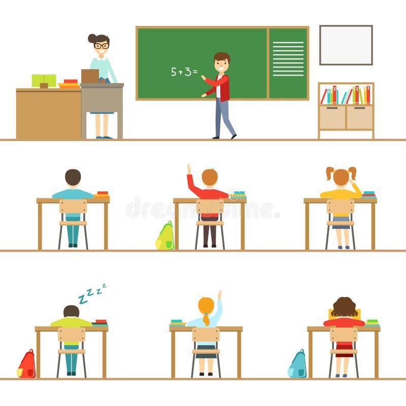 Wiskundeklaslokaal en Jonge geitjes achter de Bureausreeks Illustraties vector illustratie