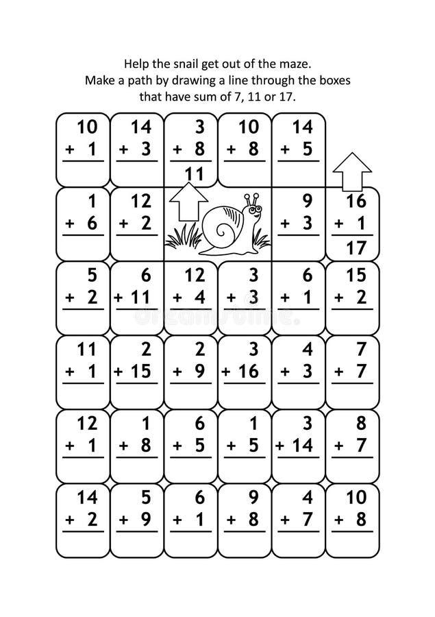 Wiskundelabyrint met toevoegingsfeiten voor aantallen tot 20 royalty-vrije illustratie