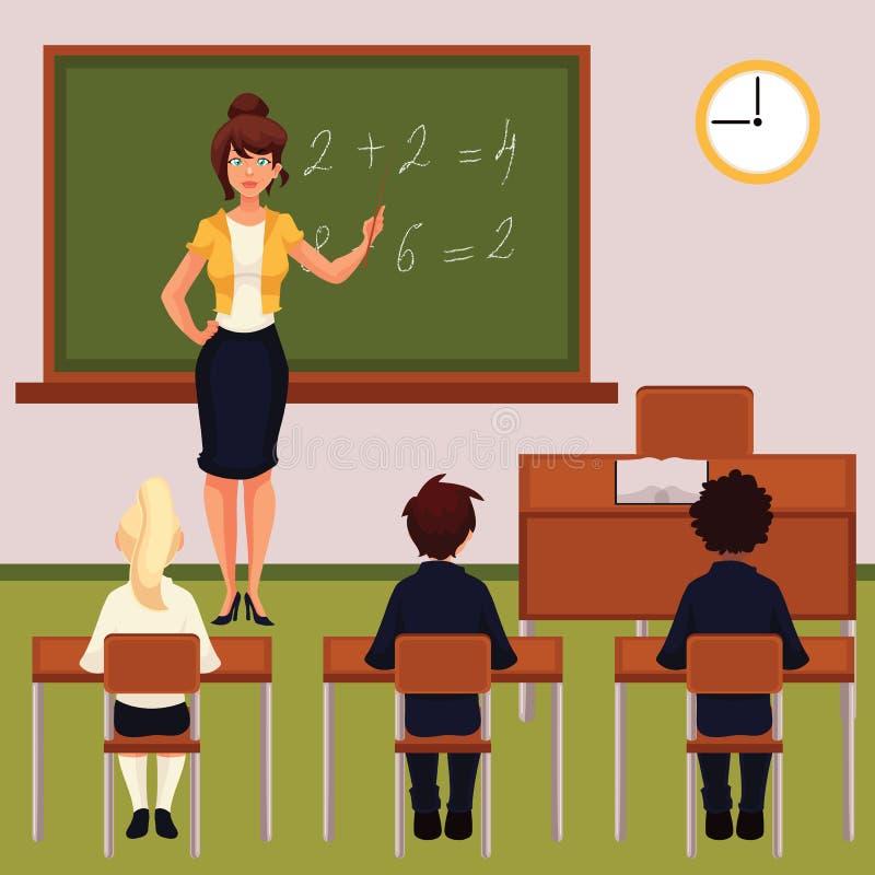 Wiskundeles met leraar en leerlingen in klaslokaal stock illustratie
