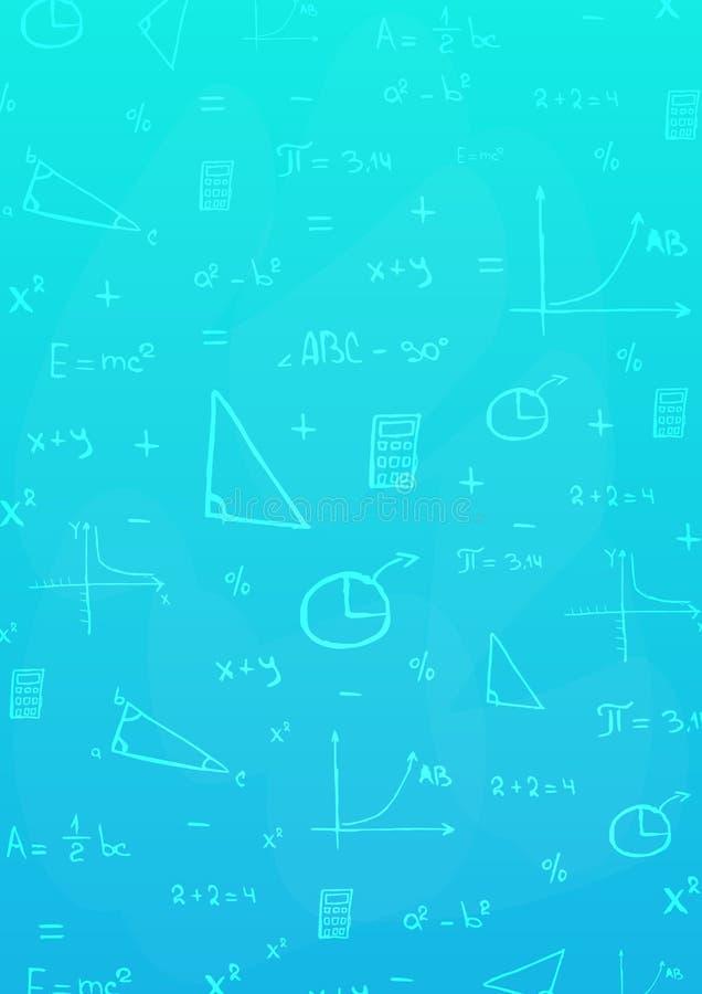 Wiskundeonderwerp Terug naar de Achtergrond van de School (EPS+JPG) Onderwijsbanner stock fotografie